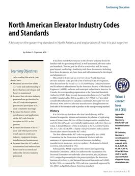 2016 March North American Elevator Industry Codes and Standards