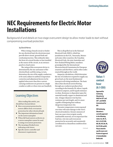 2018 September NEC Requirements for Electric Motor Installations