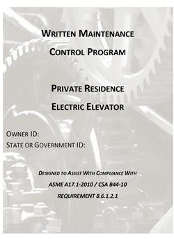 WMCPA17.1-2010 ELECTRIC PRIVATE RESIDENCE ELEVATORS